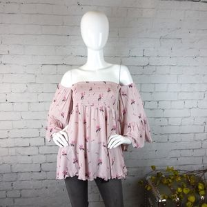 NWT Free People boho off the shoulder smocked top